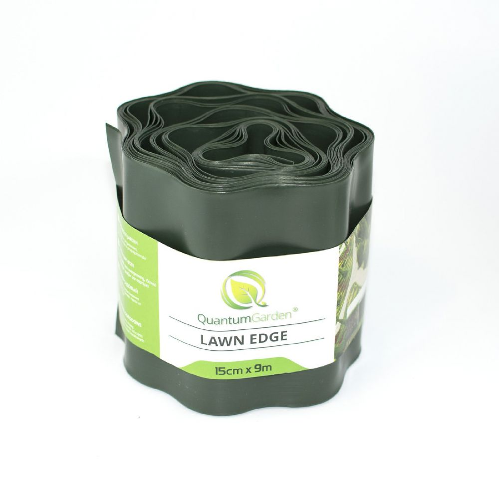 Flexible Plastic Lawn Edge 15cm x 9m in Dark Green Colour